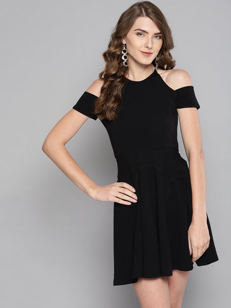 Black Cold Shoulder Skater Dress1
