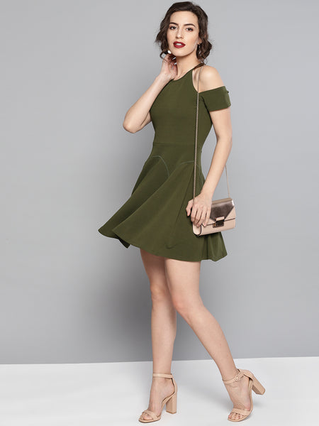 Olive Cold Shoulder Skater Dress1