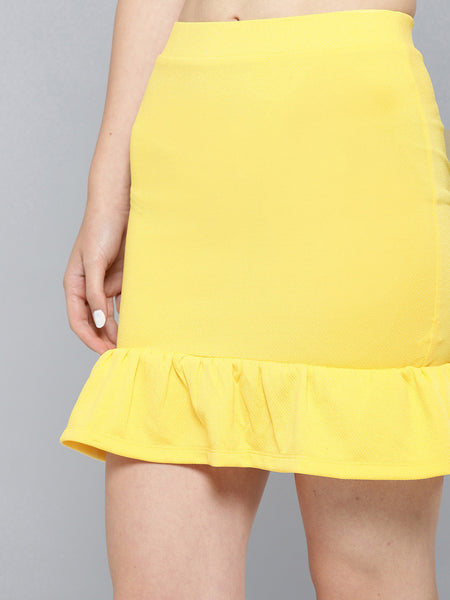 Yellow Frilled Bottom Bodycon Skirt1