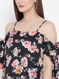 Black Floral Bow Tie Cold Shoulder Top
