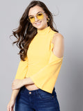 Yellow High Neck Cold Shoulder Bell Sleeve Top3