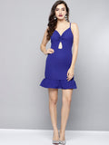 Royal Blue Knot Frilled Dress1