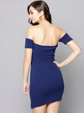 Navy Blue Slit Bardot Dress5