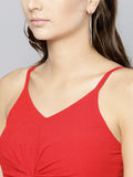Red Twist Knot Strappy Crop Top3