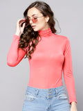 Coral High Neck Full Sleeve Bodycon Top1