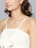 White Front Knot Strappy Crop Top4
