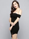 Black Slit Bardot Dress5