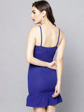 Royal Blue Knot Frilled Dress4