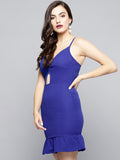 Royal Blue Knot Frilled Dress5