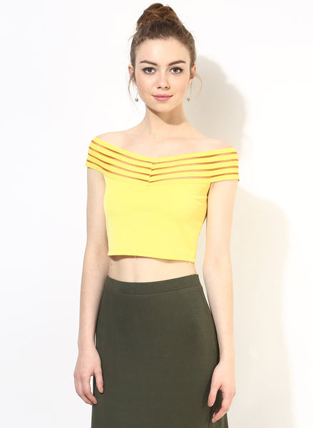 Yellow Tape Detail Bardot Crop Top1