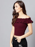 Maroon Frilled Bardot Crop Top5