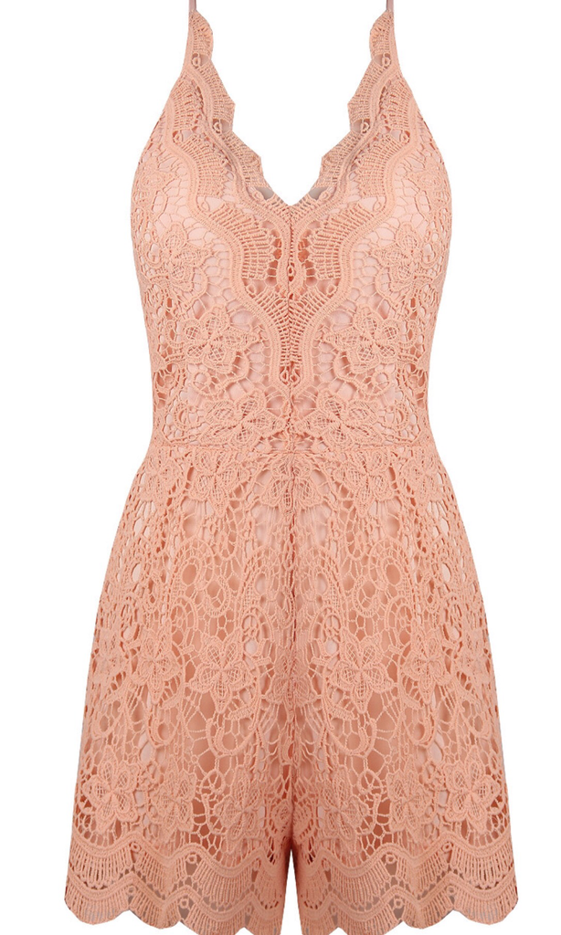 SHERRY PEACH LACE PLAYSUIT