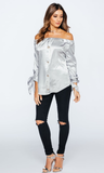 DOLLY GREY SATIN BARDOT TOP