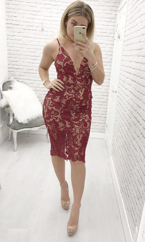 SANITTA RED LACE DRESS