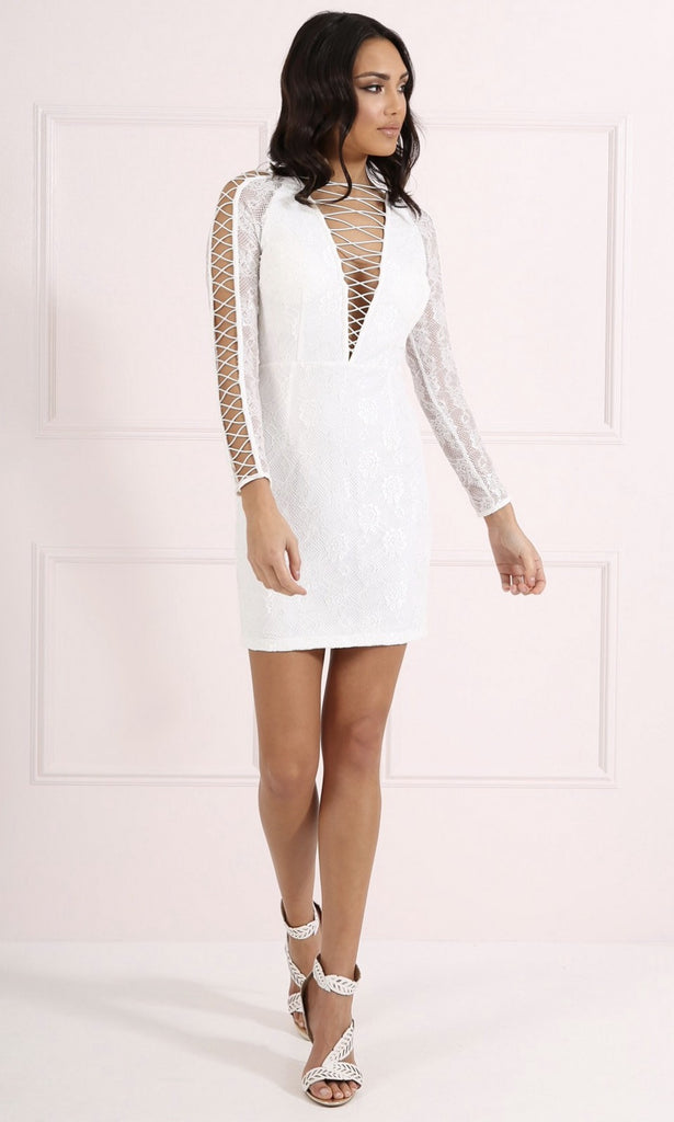 RITA WHITE LACE BODYCON
