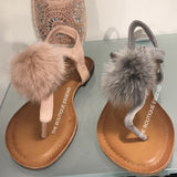 LIBERTY GREY FUR SANDALS