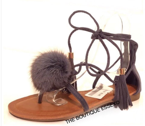 KARINA GREY FUR SANDALS