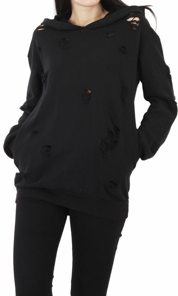 SOPHIA BLACK HOODY JUMPER DRESS