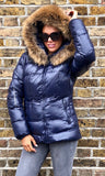 ROME NAVY FUR COLLAR JACKET