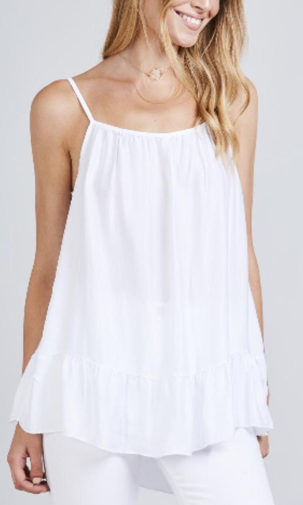 MISTY SILKY WHITE CAMI TOP
