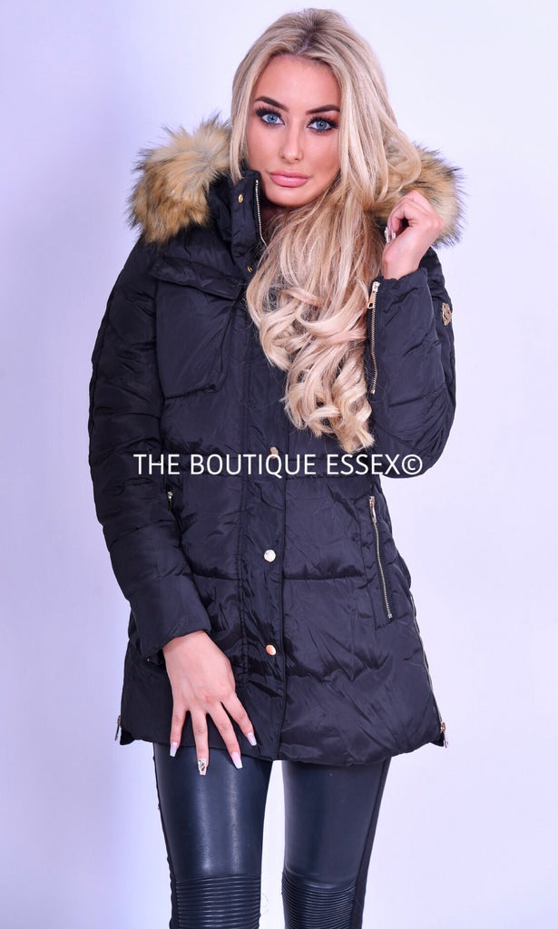 TAYLOR BLACK FAUX FUR JACKET