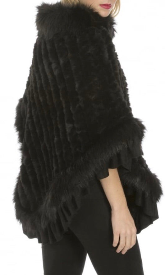 JAY LUXURY BLACK FAUX FUR PONCHO