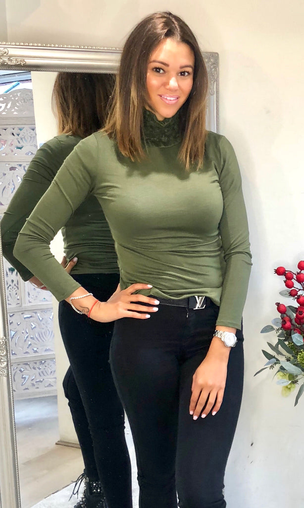 HOLLY KHAKI ROLL NECK