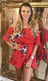 MILLY RED BARDOT PLAYSUIT