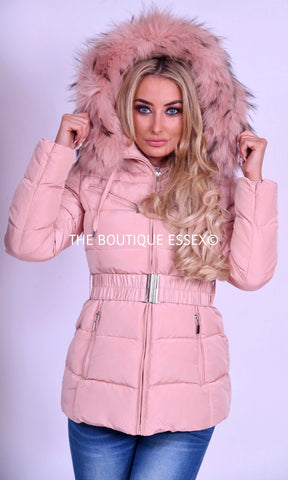 PARIS QUILTED PINK/PINK FUR COLLAR JACKET