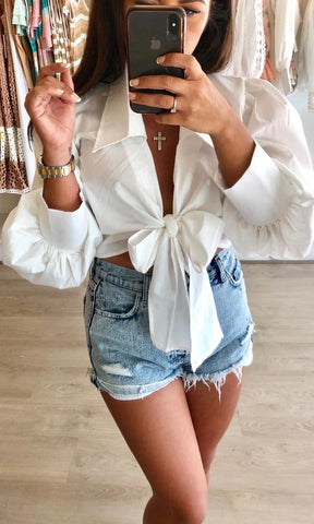 EDEN WHITE CROP BLOUSE