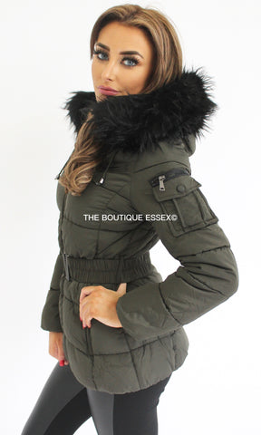 MILAN KHAKI FAUX FUR JACKET