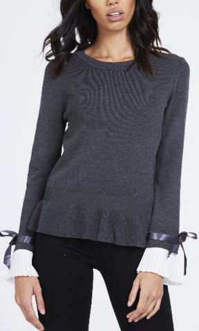 CHESCA GREY PLEAT SLEEVE JUMPER