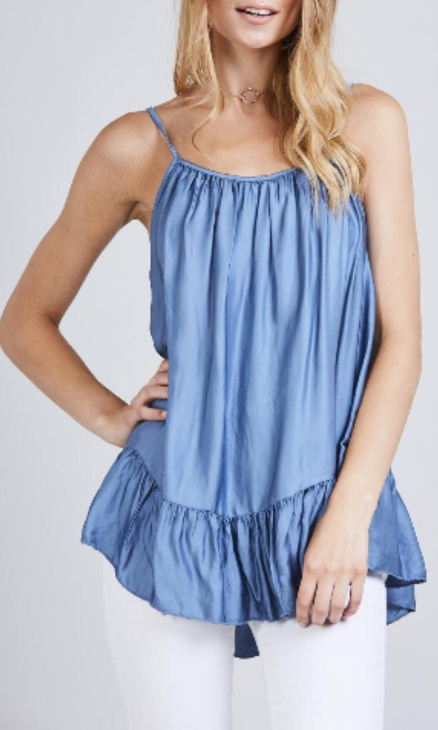 MISTY BLUE SILKY CAMI TOP
