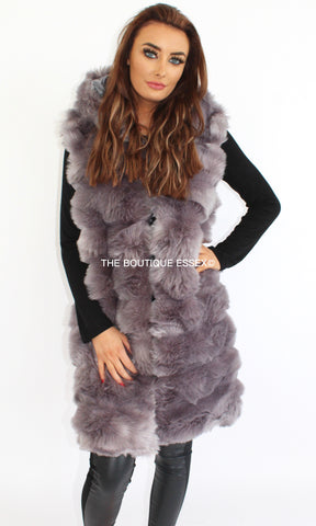 REGAN GREY FAUX FUR GILLET