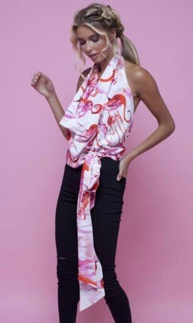 LUCY DRAPE FLAMINGO FANCY TOP