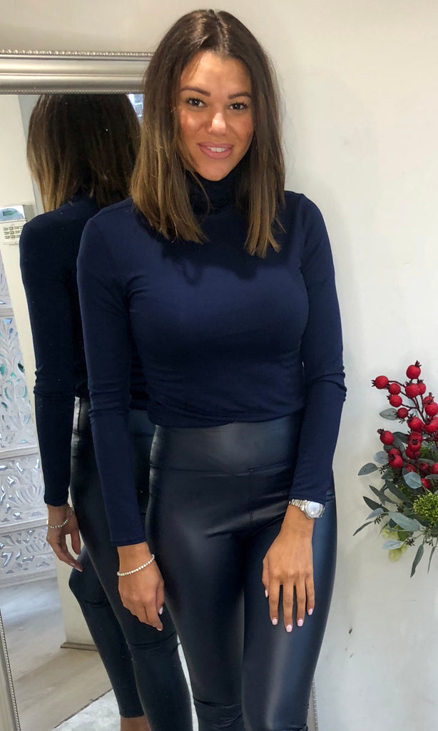 HOLLY NAVY ROLL NECK