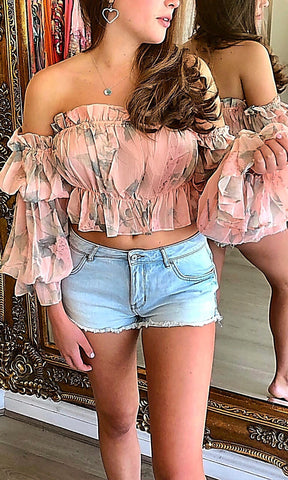 LOPEZ PEACH CROP BLOUSE