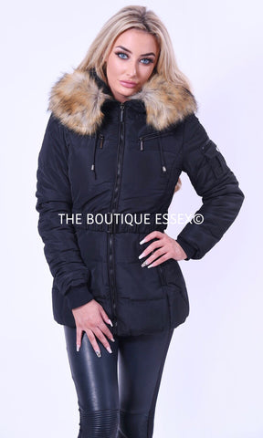 ROME BLACK FAUX FUR JACKET