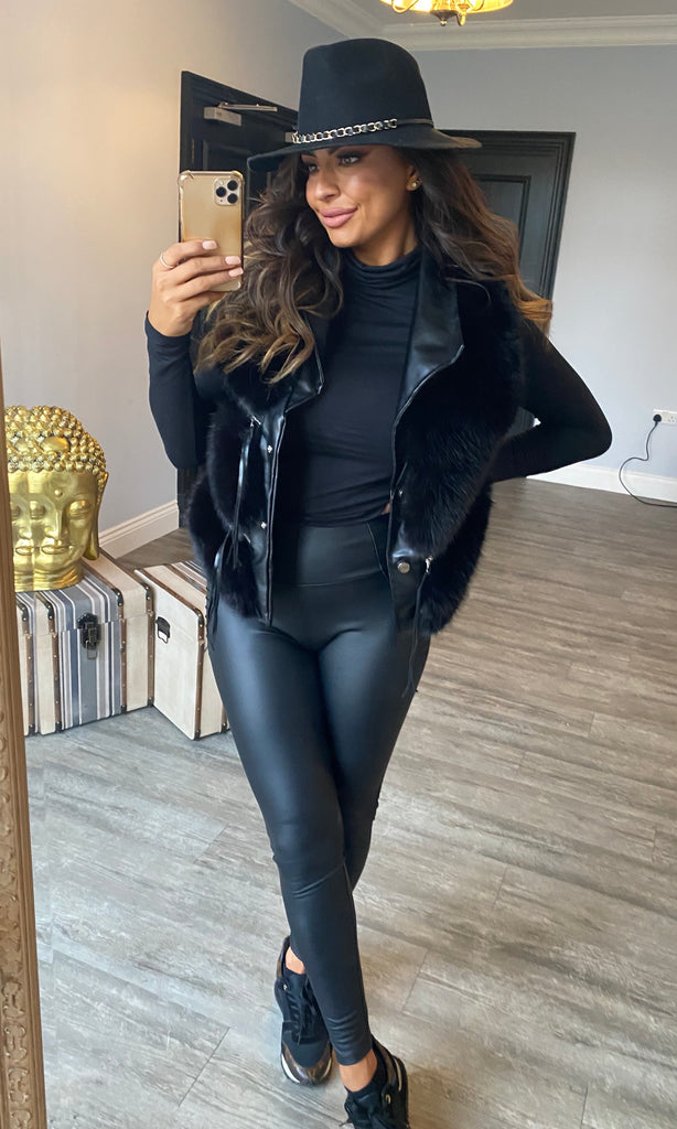 MANDY PU BLACK LEGGINGS