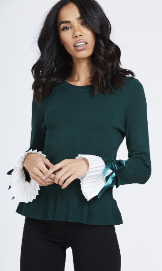 CHESCA GREEN PLEAT SLEEVE JUMPER