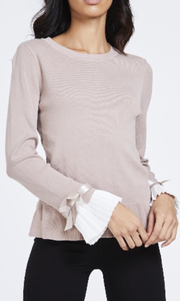 CHESCA BEIGE PLEAT SLEEVE JUMPER