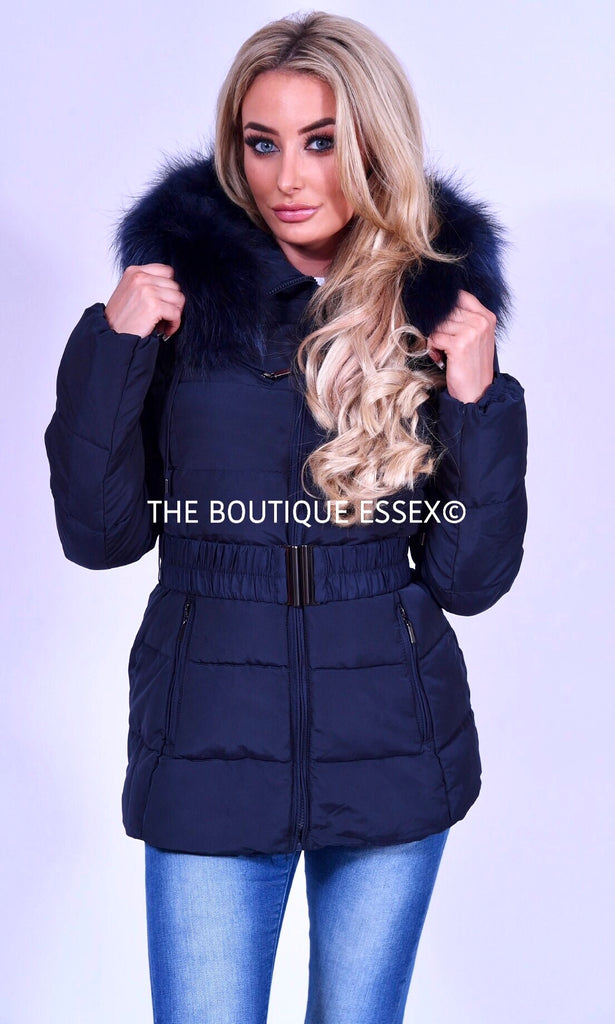 PARIS QUILTED NAVY/NAVY FUR COLLAR JACKET