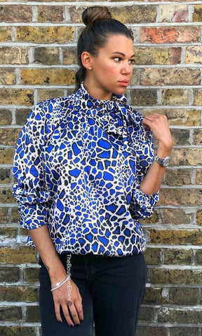 POLLY BLUE LEOPARD BLOUSE