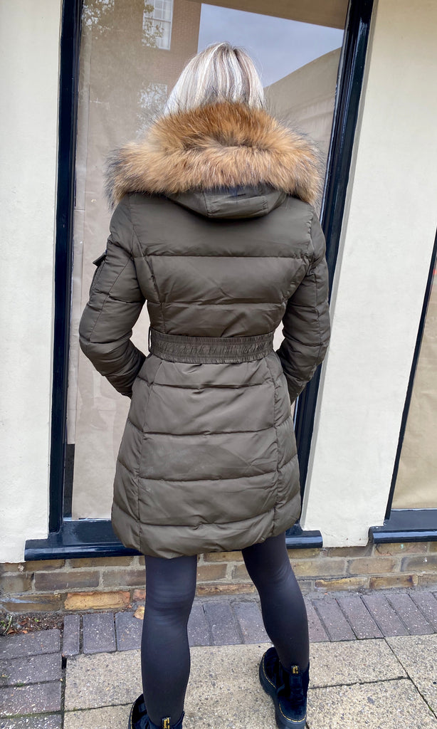 PARIS LONG KHAKI FUR COLLAR JACKET