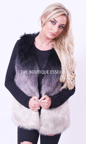 MADDIE GREY OMBRE FAUX FUR GILLET