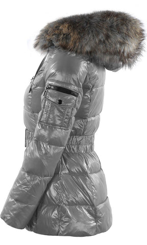 SHINY GREY FUR PARIS JACKET