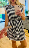 SOPHIA BLACK STRIPE DRESS