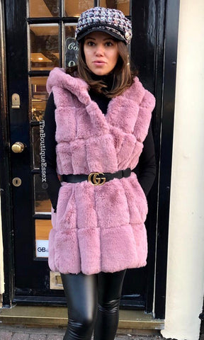 CALLY DUSTY PINK FUR GILET