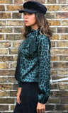POLLY GREEN LEOPARD BLOUSE