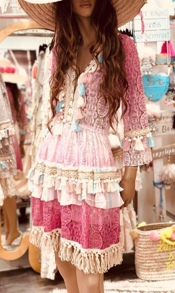 KIA PINK LACE DRESS